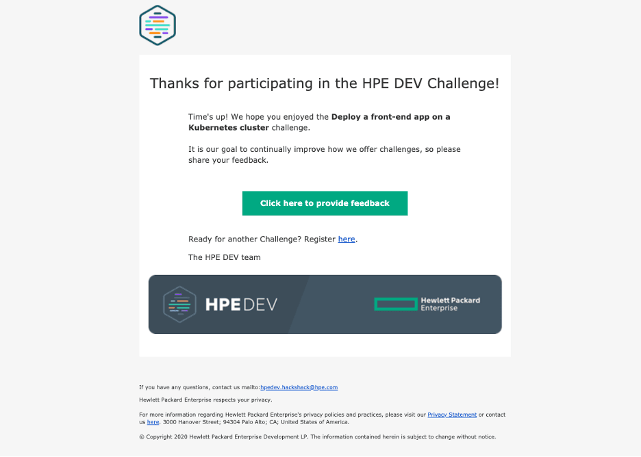 challenge end email