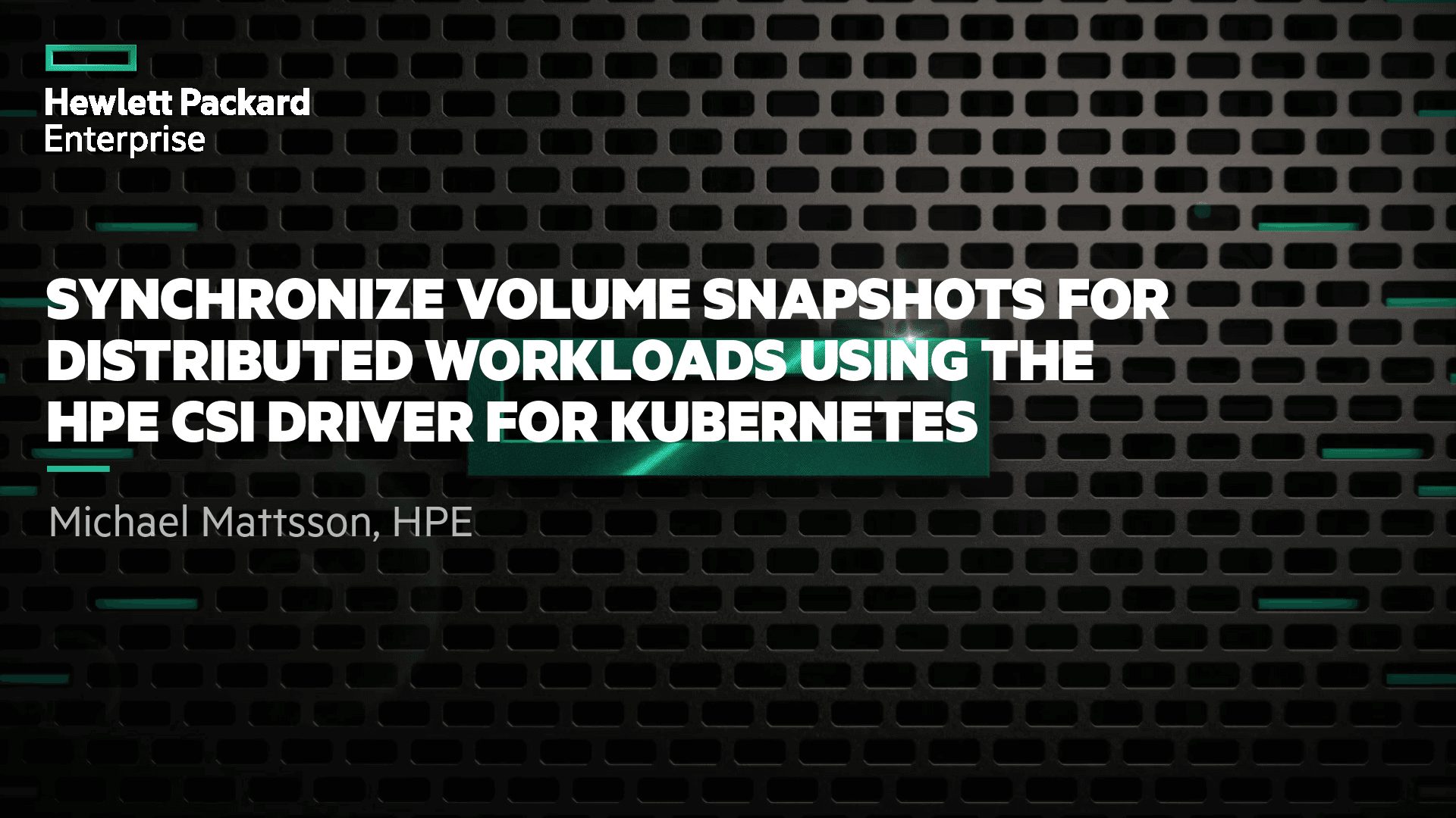 Synchronize Volume Snapshots for Distributed Workloads using the HPE CSI Driver for Kubernetes